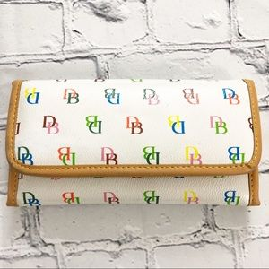 Dooney & Bourke White Leather Wallet With DB Multi